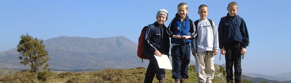 School groups mountain walking in Snowdonia